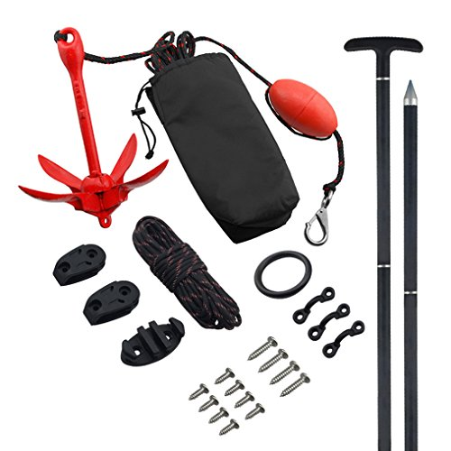 Lb Anchor Folding 3 (Vibe Complete Kayak/Canoe Anchor Bundle: Includes 3 lb Grapnel Anchor with 30' Rope, Anchor Trolley with Pulleys and 7 Foot 3-Piece Fiberglass Anchor Pole)