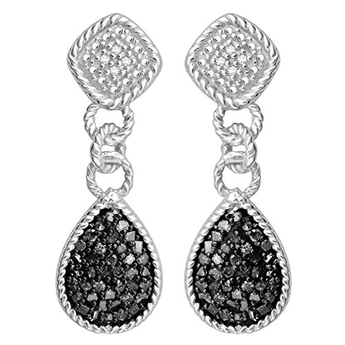 Sterling Silver 3/8 ct TDW Black and White Diamond Dangling Fashion Earrings