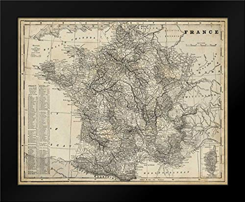 (Antique Map of France 18x15 Framed Art Print by Vision Studio)