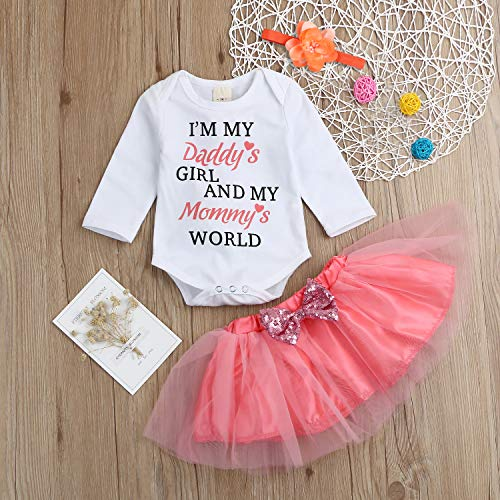 4f60f4def6815 Mother s Day Newborn Infant Baby Girls Outfits Set Letter Romper Tops+Tutu  Skirt+Headband