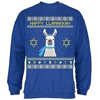Old Glory Llama Llamakkuh Ugly Hanukkah Sweater Royal Adult Sweatshirt - Small