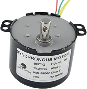 CHANCS 50KTYZ Synchronous Low Speed Motor AC 110V 1/1.2RPM Small Electric Motor