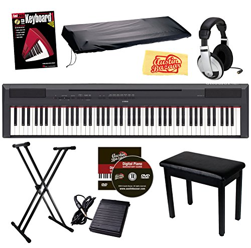 Yamaha P-115 Digital Piano - Black Bundle with Furniture Bench, Stand, Dust Cover, Sustain Pedal, Headphones, Instructional Book, Austin Bazaar Instructional DVD, and Polishing Cloth