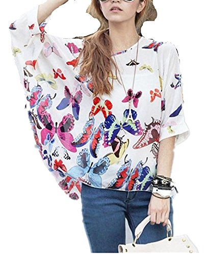 Mullsan Women's Batwing Ladies Chiffon Round Neck Semi Sheer Top Loose Women's Batwing Ladies Chiffon Round Neck Flower Semi Sheer Top Loose Chiffon Blouse T Shirt (butterfly 1), One Size, butterfly (Butterflies Ladies Top)
