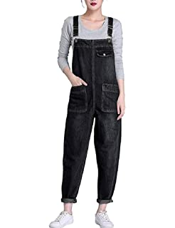 449b549a6338 Lazutom Women s Loose Fit Casual Baggy Denim Bib Dungarees Overall