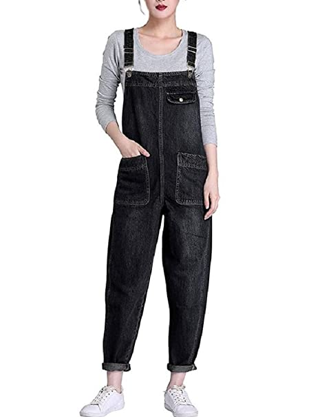 fde3b7c9d1 Lazutom Women s Loose Fit Casual Baggy Denim Bib Dungarees Overall (Black