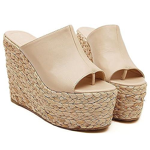 1e89a8e27be well-wreapped IDIFU Women s Sexy Wedge High Heels Platform Thong Sandals  Slide Espadrilles Sandy Shoes