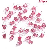 Adorox 144 Small Pink Acrylic Baby Pacifiers Baby Shower Decoration Table Scatter (Pink (144 Pieces))