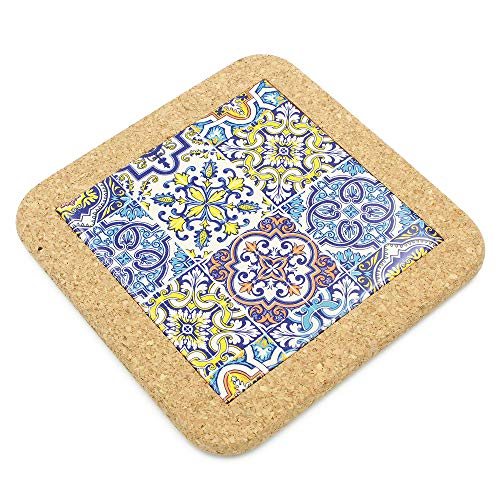 (Traditional Portuguese Ceramic Hand-painted Tile Trivet with Cork)