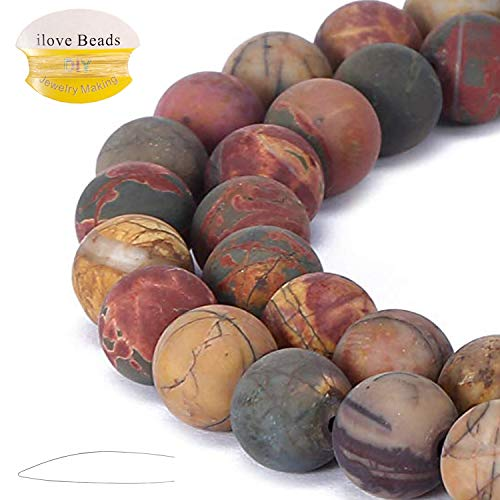 ILVBD Natural Round Picasso Jasper Gemstone Smooth Matte Loose Beads 4/6/8/10/12MM for DIY Bracelet Jewelry Making 15 inch One Strand (Picasso Jasper, 12MM)