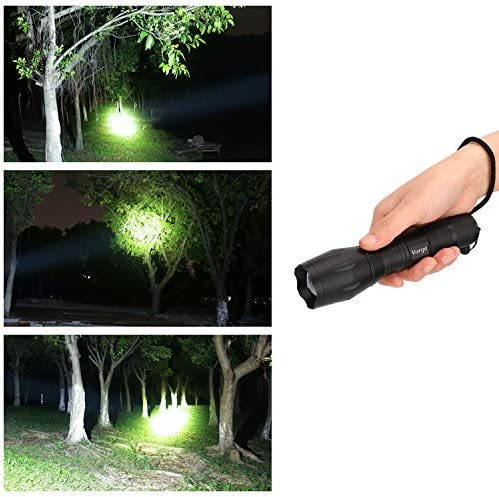 vorya 900 Lumens Tactical Flashlights Pack 2 Portable Waterproof Ultra Bright Handheld Powerful Light Adjustable Focus 5 Light Modes CREE XML-T6 LED Flashlight