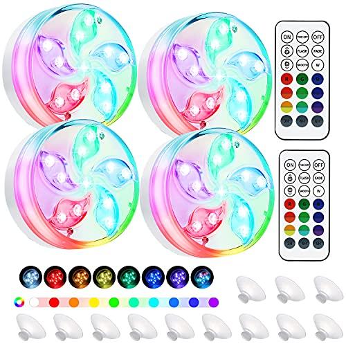 LED Sommergibili Luci Piscina, Luce a 4×11 LED RGB con Telecomando Ventosa magnetica, Per Giardino/Cerimonia Nuziale/Partito/Piscina/Laghetto/vaso/Acquario Fish Tank Decorazione(4 PCS)