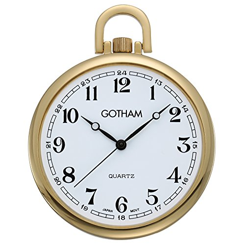 (Gotham Men's Gold-Tone Slim Railroad Open Face Quartz Pocket Watch # GWC15028GA)
