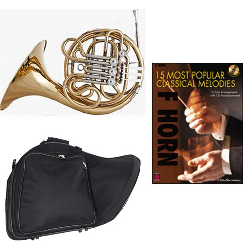 Band Directors Choice Double French Horn Key of F/Bb - 15 Most Popular Classical Melodies Pack; Includes Intermediate French Horn, Case, Accessories & 15 Most Popular Classical Melodies Book by Double French Horn Packs