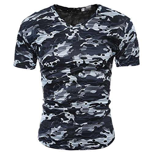 Bluestercool Fashion Casual Hommes T-Shirt Manches Courtes Camouflage Tops Gris