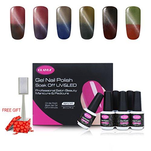 CLAVUZ 6pcs Soak Off UV LED Color Changing Magnetic Gel Nail