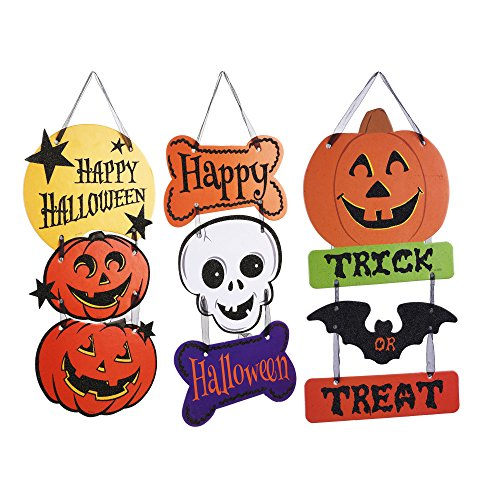 [Kloud City Pack of 3 Halloween Pumpkin Skeleton Hanging Board Sign Bat Wall Door Plaque Window Display Hanging Decoration for Haunted House] (Cute Halloween Carved Pumpkins)