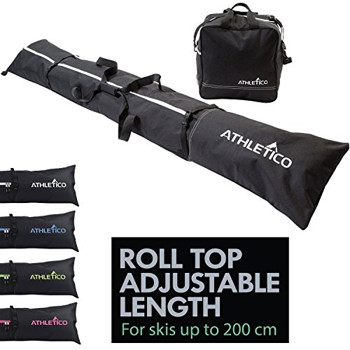 Athletico Two-Piece Ski and Boot Bag Combo | Store & Transport Skis Up to 200 CM and Boots Up To Size 13 | Includes 1 Ski Bag & 1 Ski Boot Bag (Black) (Black Ski Bag)