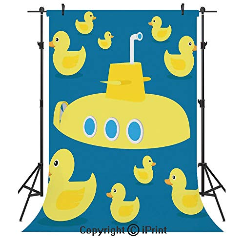 Rubber Duck Photography Backdrops,Duckies Swimming in The Sea with a Yellow Submarine Kids Party Nautical Print,Birthday Party Seamless Photo Studio Booth Background Banner 6x9ft,Navy Blue Ducky Personalized Birthday Banner