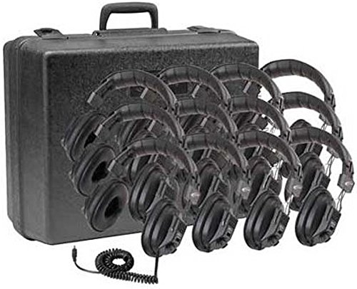 Mono Headphone Replaceable Coiled Cord - Califone 3068-12 Switchable Stereo/Mono Headphone (12-Pack) with Foam-lined Storage Case, Padded headband comfortable enough for extended wear, Fully adjustable to fit all sizes, Mono/Stereo switch for language and computer applications