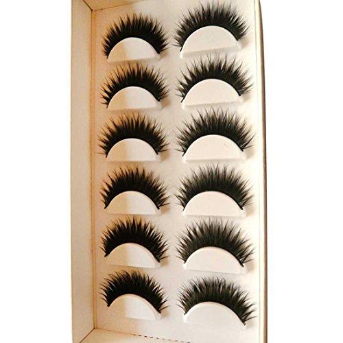 Eyelashes,Canserin 6 Pair Handmade Natural False Eyelashes