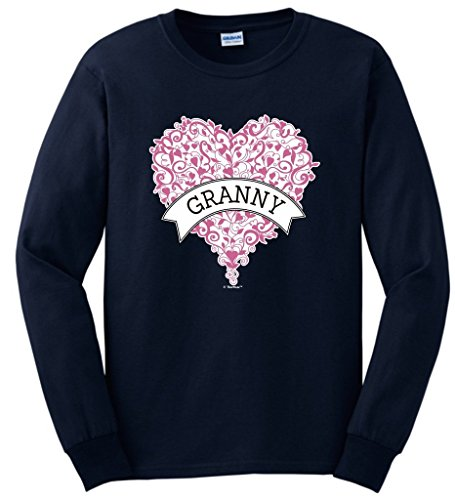 Grandma Birthday Gifts Grandma Gift Granny Pink Heart Banner Long Sleeve T-Shirt Large Navy