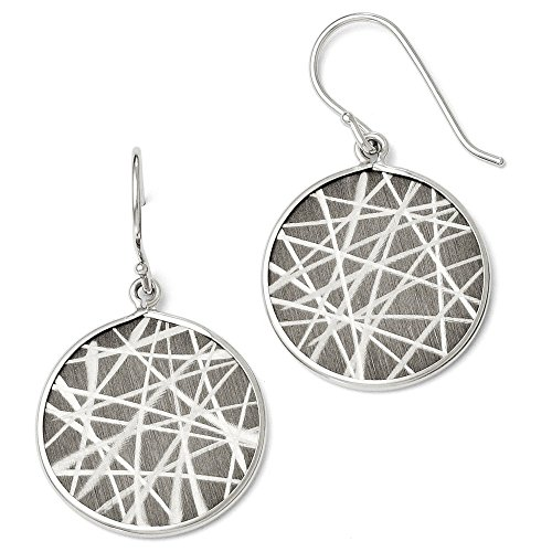 Sterling Silver Black Dangle Polished Laser-cut Ruthenium plating Ruthenium-plated Laser Design Shepherd Hook Earrings