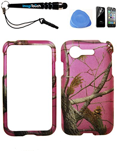 IMAGITOUCH ® LG Optimus Zone 2 Fuel L34C VS415PP (Verizon Prepaid) Rubberized 2D Design Case Cover Protector Hot Pink Pine Tree Hunter Camo Camouflage 4-Item Combo: Phone Cover, Screen Protector, Stylus Pen, Pry Tool (Lg Optimus Fuel Prepaid Phone compare prices)
