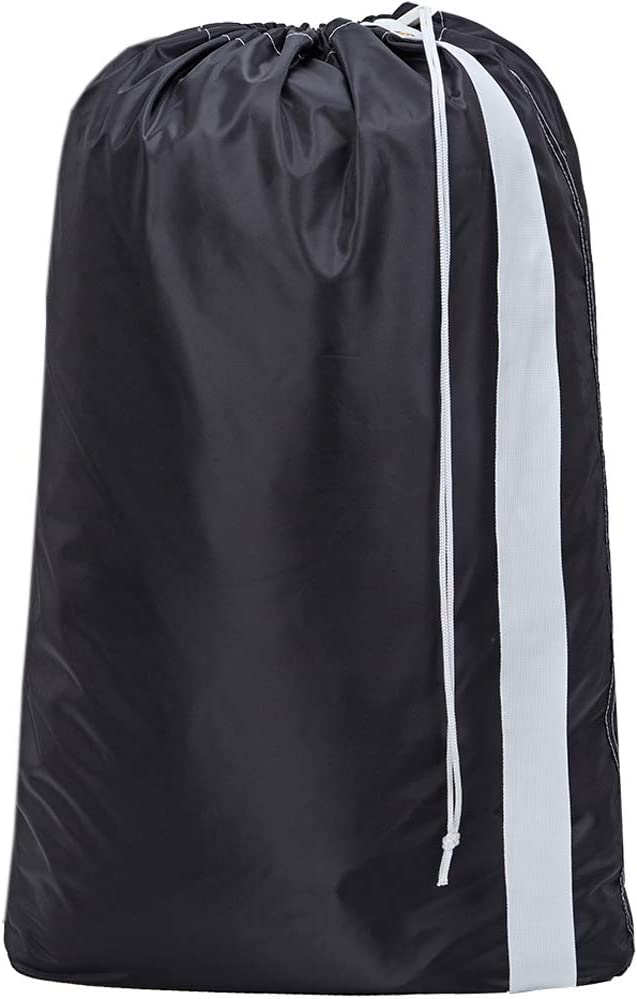 HOMEST XL Nylon Laundry Bag with Strap, Machine Washable Large Dirty Clothes Organizer, Easy Fit a Laundry Hamper or Basket, Can Carry Up to 4 Loads of Laundry, Black, (Patent Pending)
