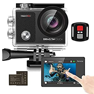 Dragon Touch Touch Screen Action Camera, 4K 16MP Underwater 100ft Waterproof Camera, 2 Rechargeable Batteries and Mounting Accessories Kit – Vision 3 Pro