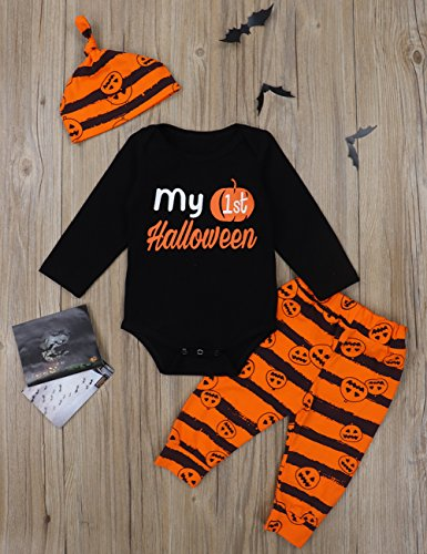 3Pcs My First Halloween Stripe Outfit Set Baby Boys Girls Cute Romper Clothing Set(0-3 M/70) by Oklan (Image #2)