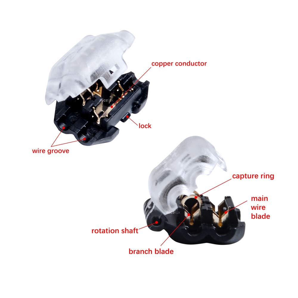 Nicelux Y3 Compact T Shape 1 Pin Electrical Wire Connectors for 1 Conductor T-tap Connection,Self-Stripping Splice Terminals,Car,LED Lighting,Sensor,Speaker,Display,Clear,15 PCS