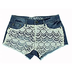Rewash Womens Juniors Lace Overlay Flat Front Cutoff Shorts Denim 11