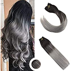 Ugeat 18inch Full Head Clip in Extensions Real Human Hair Clip in Remy Hair Extensions #1B Black to Silver Grey Color for Salon Quality Thick End Clip Hair Extensions 9Pcs 120Gram