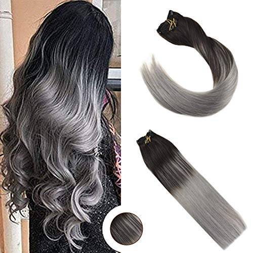 Ugeat 120g 9Pcs Clip in Human Hair Extensions Full Head Highlight Blonde #27//613