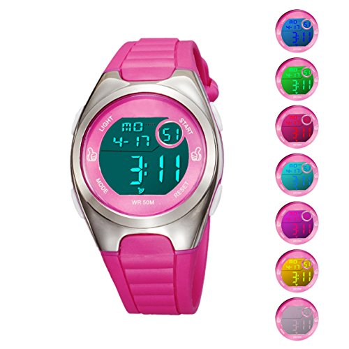 Kids Digital Sport Watch Outdoor Waterproof Watch with Alarm for Child Boy Girls Gift LED Kids Watch (7 Colors LED Rose)