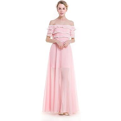 73fb1c299185 BKMGC Off Shoulder Dresses Women Sweet Pink Chiffon Ankle Length Long Gowns  (XXXL
