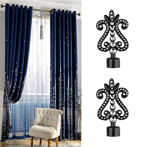 MonkeyJack 1 Pair Decorative Curtain Drapery Rod/Pole Finials Ends for 28mm Curtain Poles - Black-4#, as described by MonkeyJack (Image #2)