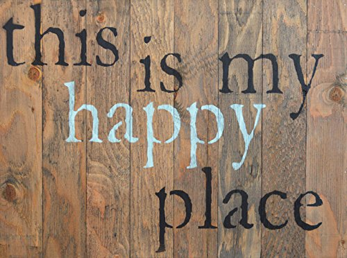 THIS IS MY HAPPY PLACE Rustic Barn Wood Pallet Sign 18″x24″ Handcrafted fun wall decor with floral design and quote to beautify your family home and make you smile every day For Sale