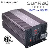 Ramsond SunRay 3000/6000 Watts W True Pure Sine Wave Power Inverter Generator -Remote Starter Ready Back Up 12V DC to 115V 60Hz AC RV