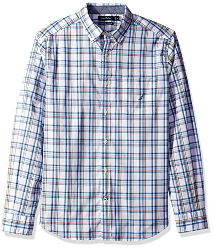 Nautica Men's Stretch Long Sleeve Casual Plaid Button Down Shirt, Bright White Large