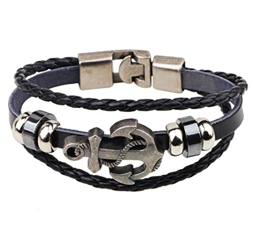 Most Beloved Alloy Genuine Leather Bracelet Bangle Cuff Cord Black Silver Anchor Surfer Wrap from Most Beloved