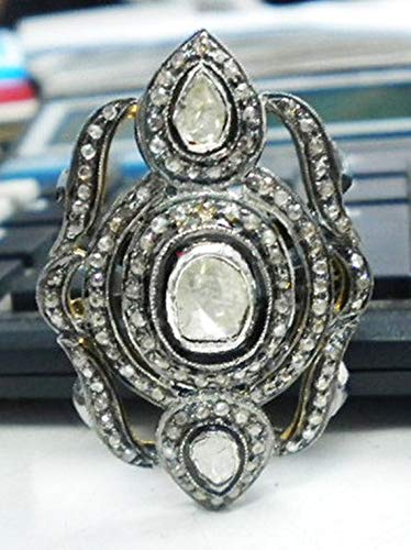 (Boho Antique Finish Large Statement Ring Rose Cut Diamond Uncut Diamond Polki Sterling Silver Filigree Masterpiece)