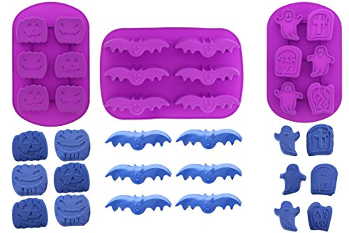Silicone Bakeware Set - 3-Piece Heat Resistant Halloween Baking Molds for Chocolate, Hard Candy, Fondant Cake Decorations - Ghosts, Bats, Pumpkins, Tombstones (Pumpkin Hard Candy)