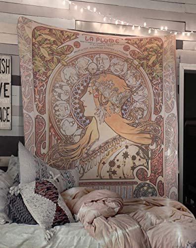 Art Nouveau Zodiac Tapestry Bohemian Wall Hanging Large Artwork Hippie Lady ()