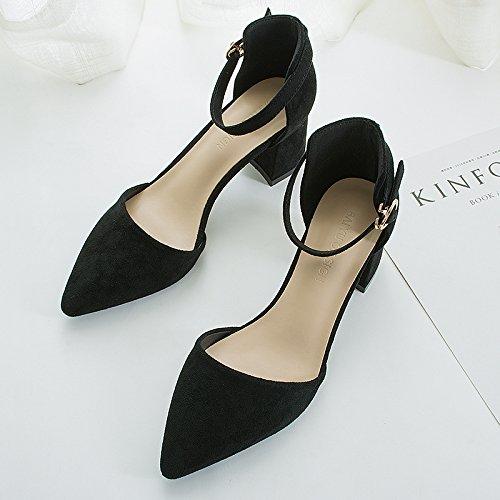 Tacón Con Negro Los Punta Zapatos GAOLIM De Hueca Aire Medir De Zapatos Sandalias De Ranurados Mujer Sandalias Espesor Para De 0qH0fvnw