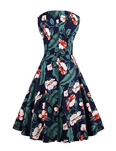 VKStar - Vestido - trapecio - Floral - Sin mangas - para mujer negro