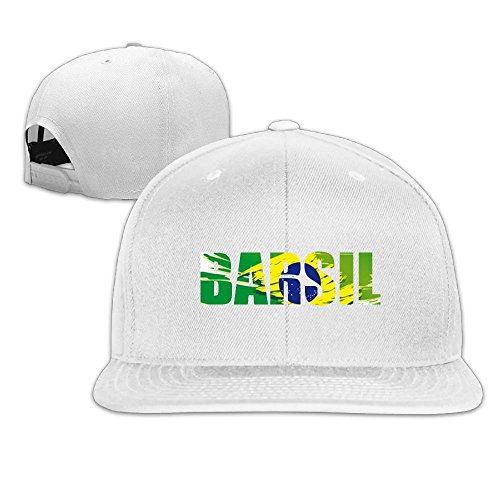 VivianYan Adjustable Flat Baseball Hat Unisex BARSIL Alphabet Colorblock White