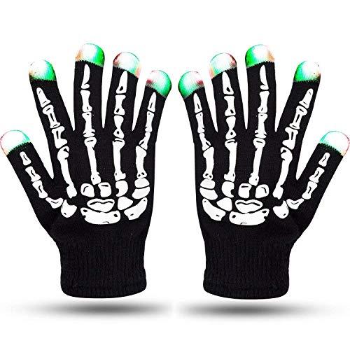 Flykul LED Gloves, LED Skeleton Gloves Full Fingers Flashing 6 Modes RGB Halloween Costume Christmas Dance Party Birthday