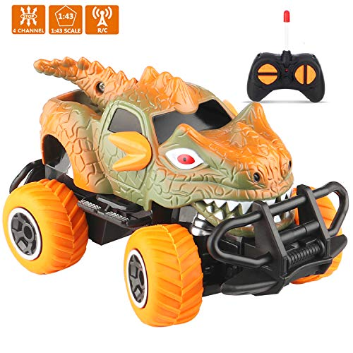 Alagaus Dinosaur Remote Control Car for 3-5 Year Old Boys Girls,Mini Dino RC Car Toys for Toddler Ideal Gifts Toys for Kids 1:43 Scale Brown